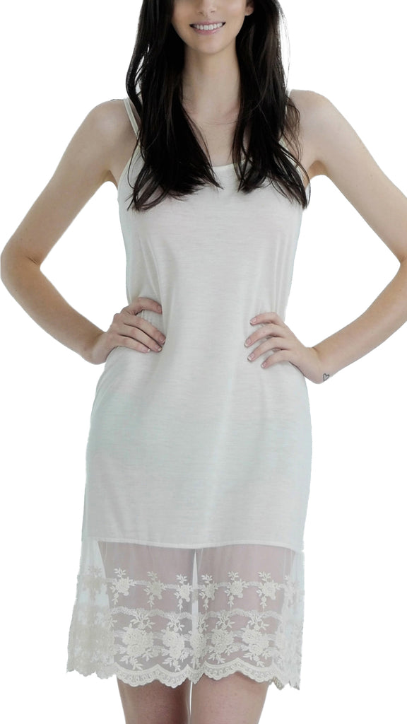 b7149a735941 Women lace hem knit full slip with adjustable straps for top/tunic extender  - Shop