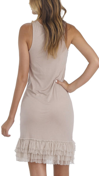 Women's Sleeveless Round Neck Full Slip Dress With Polka Dot Mesh Trim - Shop Lev