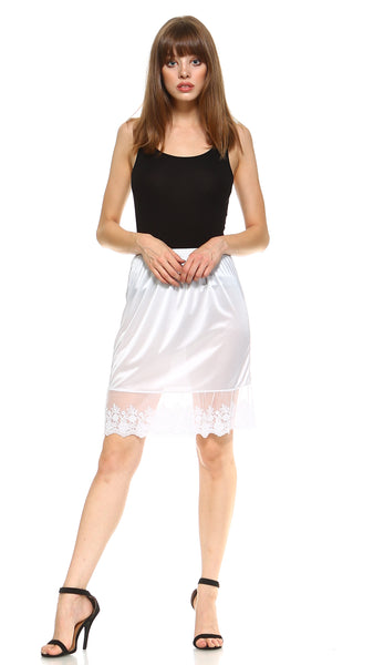 "Single lace satin half slip skirt extender - 21"" length - Shop Lev"