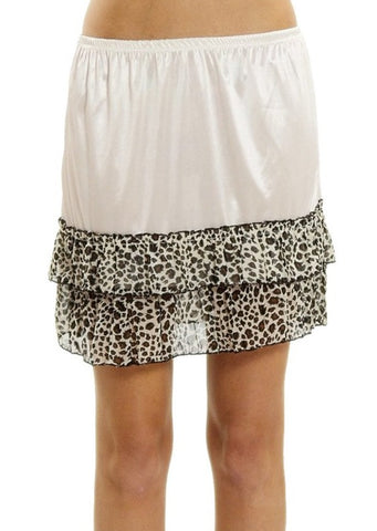 Melody ivory satin mini leopard half slip - Shop Lev