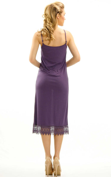 Long Solid Knit lace full slip dress extender with adjustable straps - Shop Lev