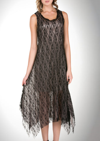 Lace Mesh Layering Sleeveless Dresses - Shop Lev