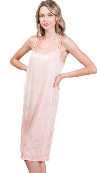 Knee length tie dye knit full slip dress - Shop Lev