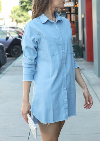 Women Casual Chambray Button Down Distressed Denim Trim Tunic Shirt Dress or Jacket - Shop Lev
