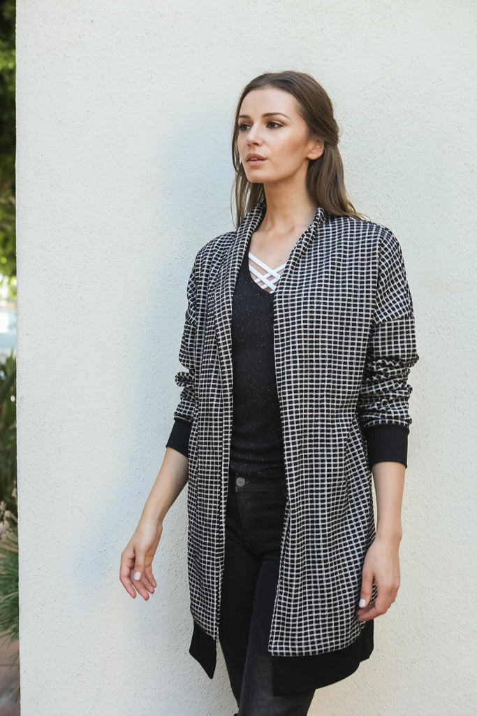 Women Gingham Checkered Casual Open Front Sweater Knit Longline Cardigan