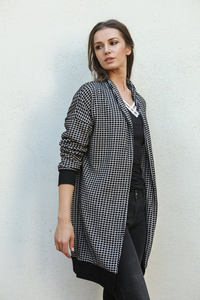 Women Gingham Checkered Casual Open Front Sweater Knit Longline Cardigan - Shop Lev