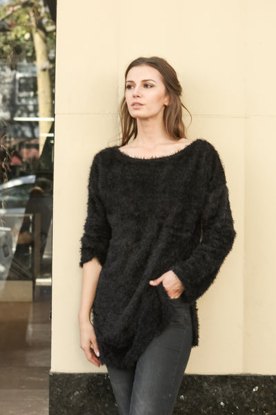 Women Boat Neck Fuzzy Furry Sweater Knit Pullover Loose Fit Tunic Top - Shop Lev