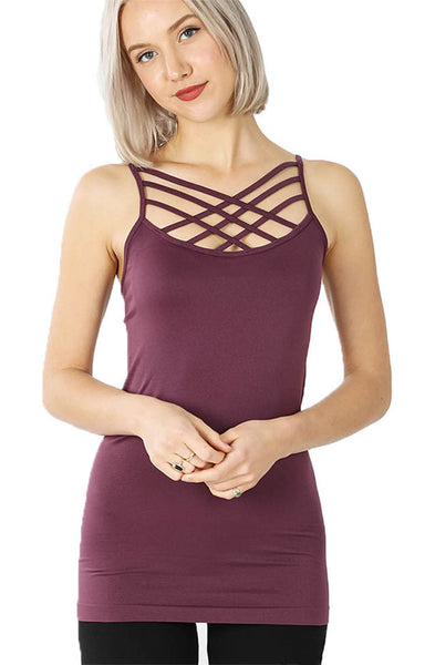 Women Sexy Front Criss Cross Straps Camisole Tank Top