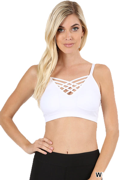 Sexy Cross Straps Seamless Crop Camisole Style Sports Bra with Removable Pads for Women … - Shop Lev