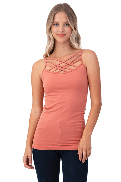Women Sexy Front Criss Cross Straps Camisole Tank Top - Shop Lev