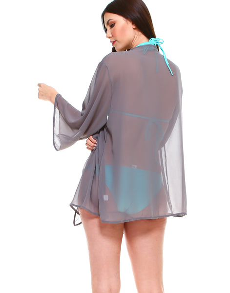 Solid chiffon loose fit kimono sleeves open cardigan and cover up - Shop Lev