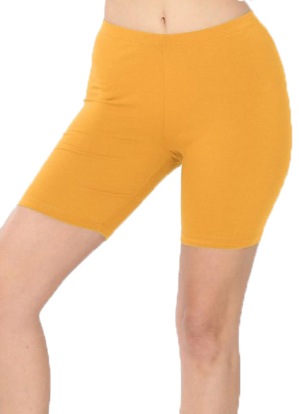 "Women Cotton High Waist Active Bermuda Bike Short Leggings - 7"" Length"