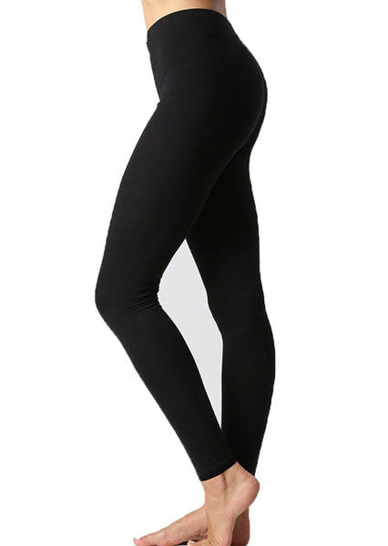 Women Solid Cotton Span High Waist Full Length Active Leggings