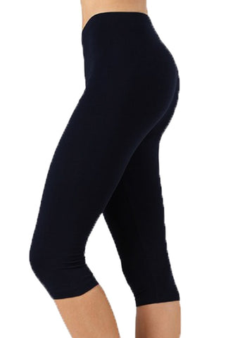 "Women Black Cotton High Waist Active Bike Short Leggings - 15"" Length"