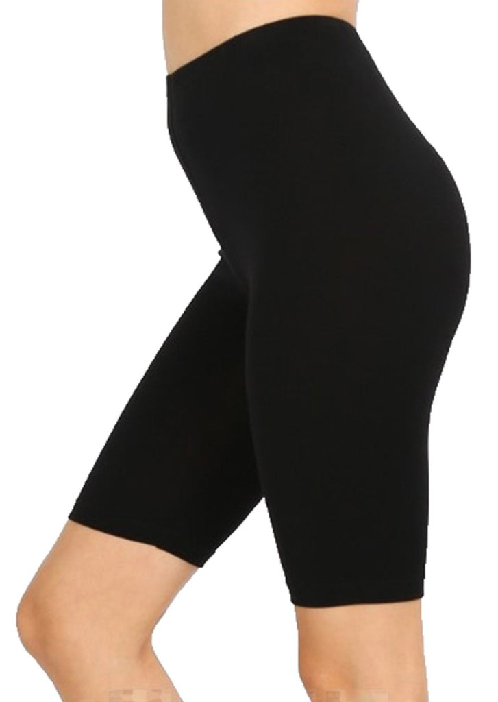 "Women Cotton High Waist Active Bike Short Leggings - 10"" Length"