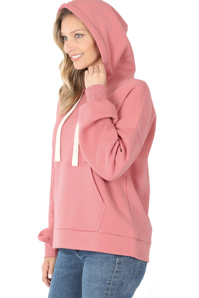 Women's Drop Shoulder Relaxed Fit Fleece Pullover Hooded Sweatshirts with Front Pocket