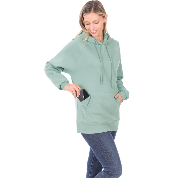 Women's Raglan Relaxed Fit Fleece Pullover Hooded Sweatshirts with Front Pocket