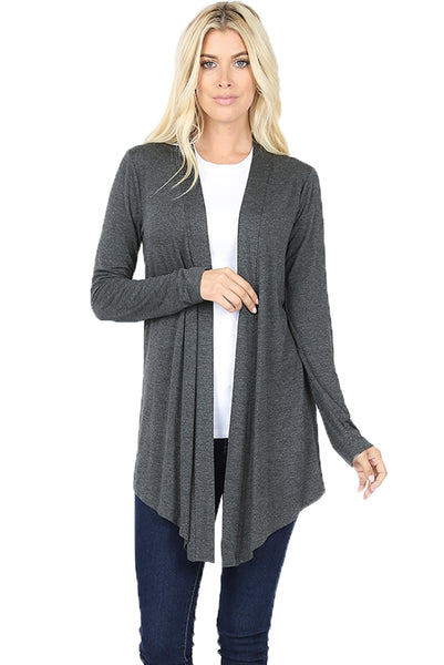 Women draped flowy lightweight sweater jersey casual layering midi length long sleeve cardigan