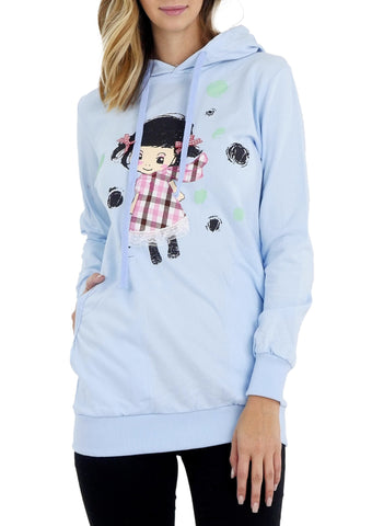 Junior Cute Girl Print Fashion Hoodie for Girls - Shop Lev