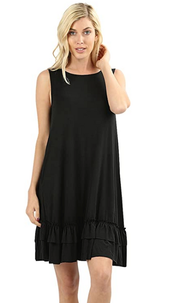 Women Scoop Neck Comfy Middy Length Flare Ruffle Dress with Pockets - Shop Lev