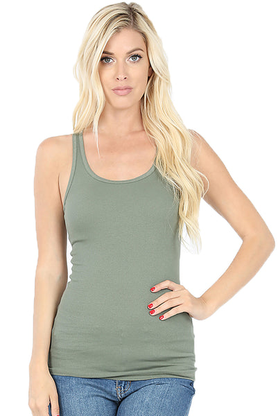 Women Lightweight Cotton Scooped Neckline Stretchy Racerback Ribbed Tank top (Regular size)