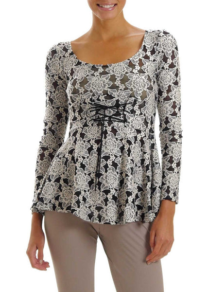 Lace Long Sleeve Round Neck Top with Front Ties - Shop Lev