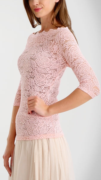 Floral Lace Half Sleeve Low Scoop Neck Top - Shop Lev