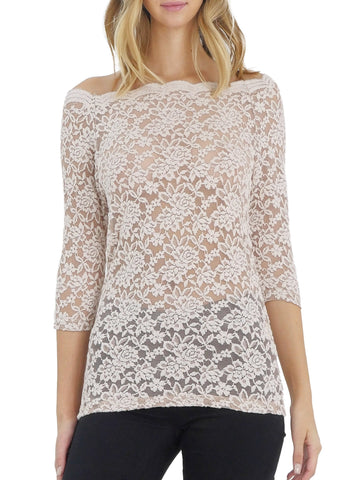 Lace Half Sleeve Low Scallop Neck Top - Shop Lev