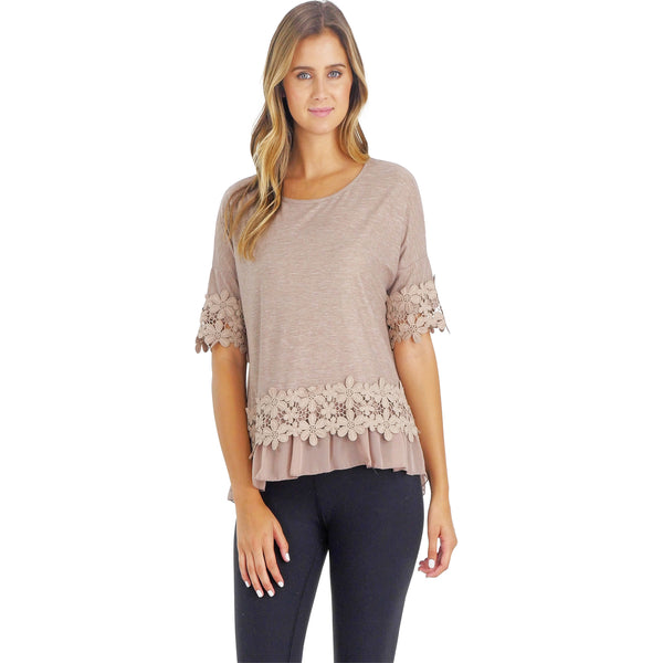 Women's Boho Top with Floral Lace Embellishment - Shop Lev