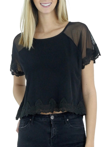 Mesh Lace Finish Crop Top - Shop Lev