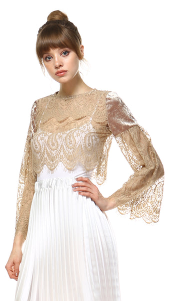 Women's see-through lace flare sleeve top - Shop Lev