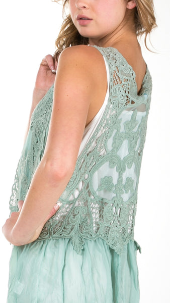 Short Lace Chiffon Vest with lace tie on the chest - Shop Lev