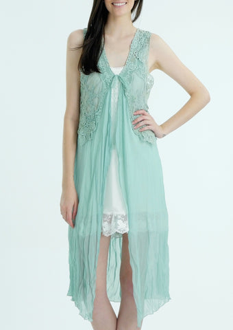 Lace Chiffon Long Lace Vest with lace tie on the chest - Shop Lev