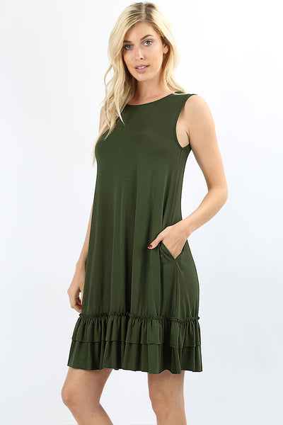 Women Scoop Neck Sleeveless Flare Ruffle Dress with Pockets
