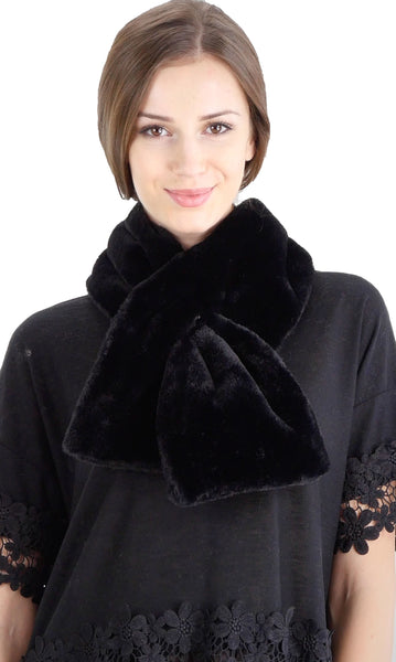 Women's Puffy Faux Fur Hole-In Wrap Scarf - Shop Lev