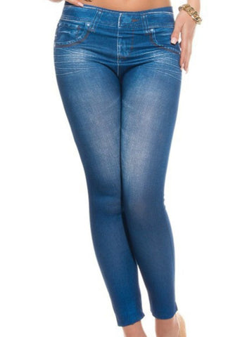 Women Fashion Skinny Jeans Denim Printed Full Length Leggings - Shop Lev