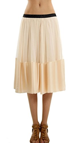Women's Wide Satin Finished Midi Tulle Ballet Skirt - Shop Lev