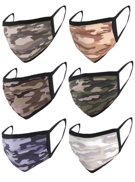 6 Pack Camo Print Washable Cotton Face Mask