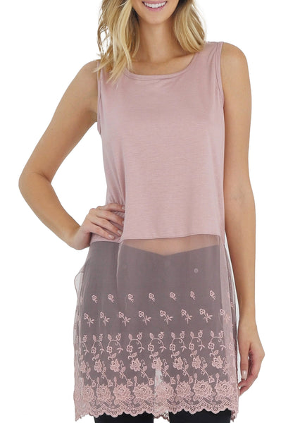 Women Lace Bottom Crop Tank and top extender - Shop Lev