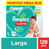 Pampers New Diapers Pants Monthly Box - Large Size 128 Pcs