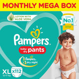 Pampers New Pants Monthly Box - Extra Large Size Diapers 112 Pcs