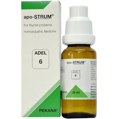 ADEL 6 Apo-Strum Drops 20Ml For Thyroid Problems, Weakness Of Muscles, Weight Gain & Irregular Menstruations