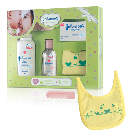 Johnson's Baby Care Collection With Organic Cotton Bib & Baby Comb ( 5 Gift Items)