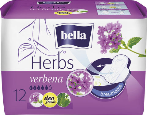 Bella Herbs Sanitary Napkins With Verbena 12 Pieces