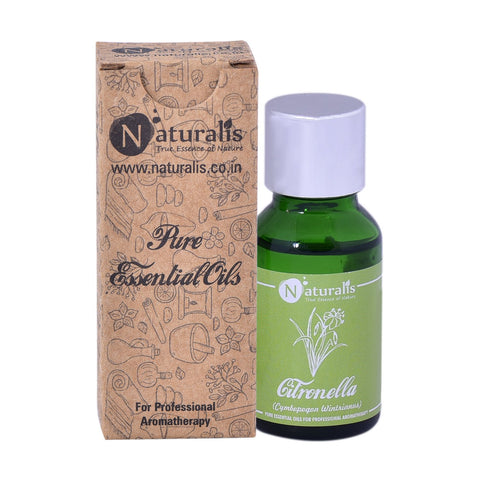Naturalis Citronella Essential Oil (15 ML) - Reduces Fever, Stimulates Urination, Inhibits Bacterial Growth, Fights Depression, Eliminates Infections