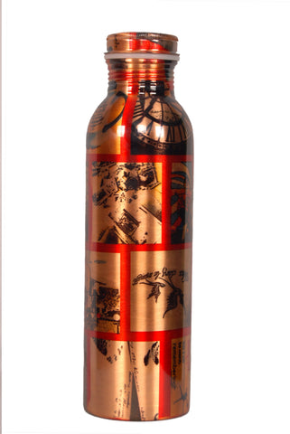Ask Modern Art Printed Copper Water Bottle 950 ML