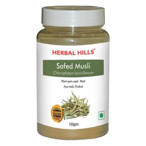 Herbal Hills Safed Musli Powder For Arthritis, Cancer, Diabetes, Boosting Vitality, Improving Sexual Performance