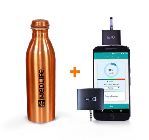 Medlife Copper Bottle (Pack Of 1) & Beato Smartphone Glucometer With 20 Strips