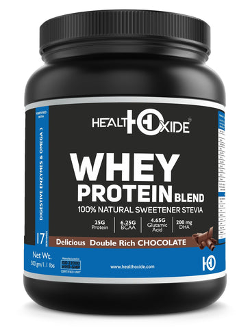 Healthoxide Whey Protein With Stevia, Omega 3 - 500GM (Delicious Double Rich Chocolate)