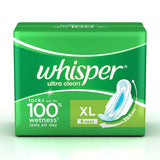 Whisper Ultra Clean Sanitary Pads Xl (8's Count)